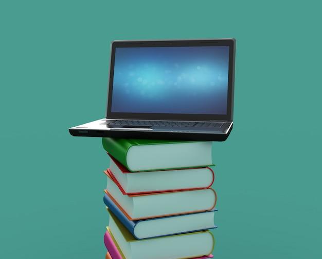 Illustration von büchern mit laptop rendern
