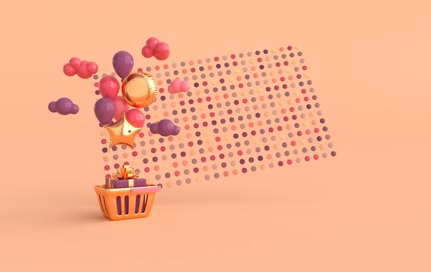 Illustration von glänzenden bunten ballons einkaufskorb geschenkbox wolken konfetti hintergrund