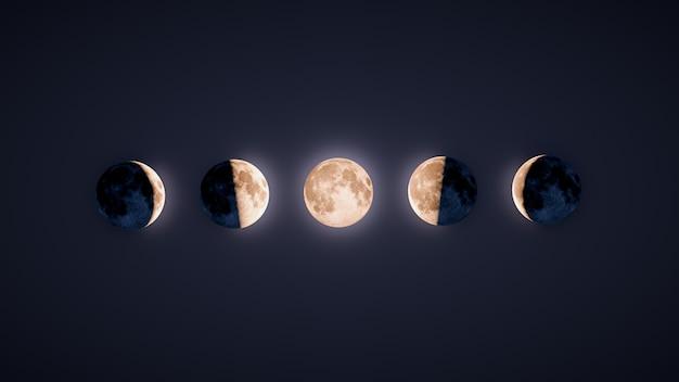 Illustration von hintergrundbeleuchteten mondphasen mit dunklem hintergrund
