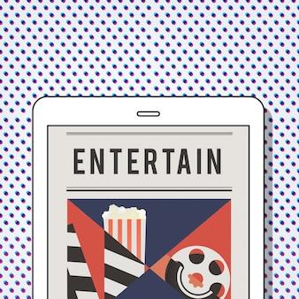 Illustration von kino-medienunterhaltung auf digitalem tablet