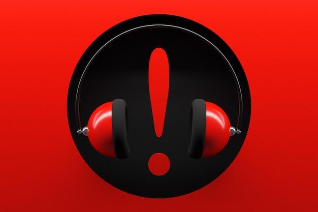 Illustration von roten retro-ohrhörern mit großem ausrufezeichen auf rot