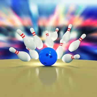 Illustration von verstreuten kegeln und bowlingkugel auf holzboden