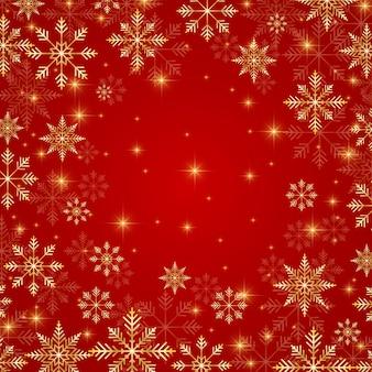Illustration weihnachten und neujahr roter hintergrund mit goldenen schneeflocken.