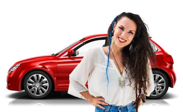 Illustrations-konzept des auto-fahrzeug-hatchback-transport-3d