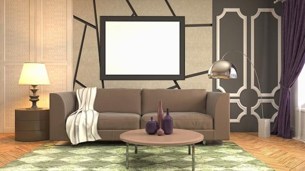 Illustrationsplakatrahmen im innenraum