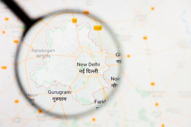 Illustratives konzept der stadtvisualisierung delhi, indien auf anzeigebildschirm durch lupe
