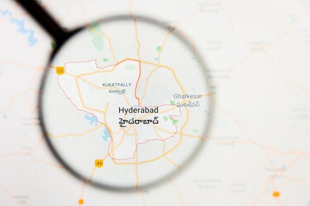 Illustratives konzept der stadtvisualisierung hyderabad, indien auf anzeigebildschirm durch lupe