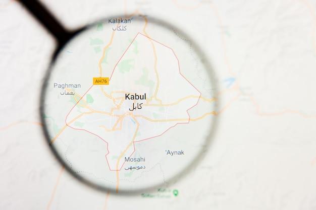 Illustratives konzept der stadtvisualisierung kabul, afghanistan auf anzeigebildschirm durch lupe