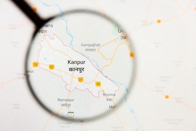 Illustratives konzept der stadtvisualisierung kanpur, indien auf anzeigebildschirm durch lupe