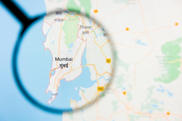 Illustratives konzept der stadtvisualisierung mumbai, indien auf anzeigebildschirm durch lupe