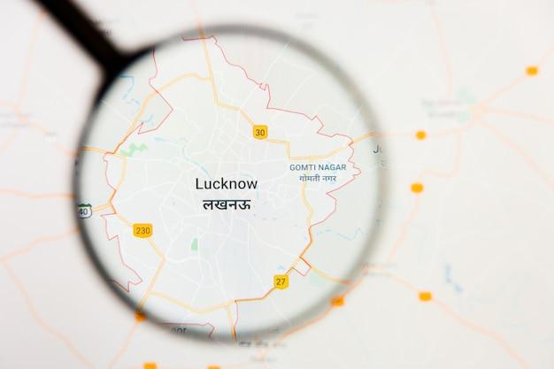 Illustratives konzept der stadtvisualisierung von lucknow, indien auf anzeigebildschirm durch lupe