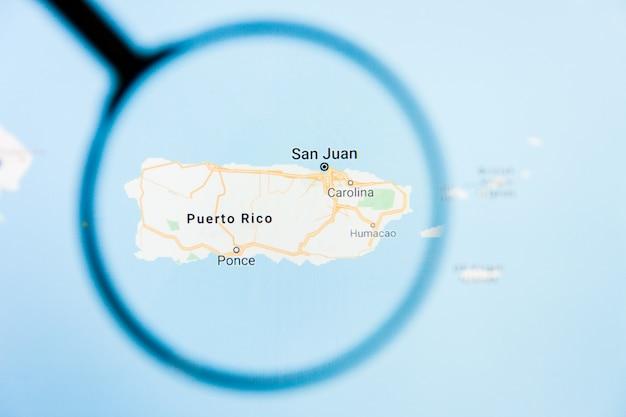 Illustratives konzept der visualisierung von puerto rico, pr-bundesstaat von amerika auf dem bildschirm durch lupe