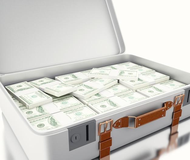 Illustraton 3d. koffer voller geld