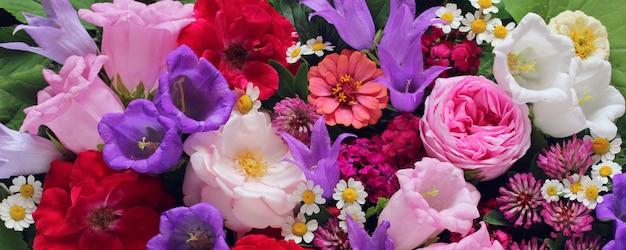 Im garten kultivierte blumen: rosen, pfingstrosen und andere. blumenhintergrund, draufsicht.