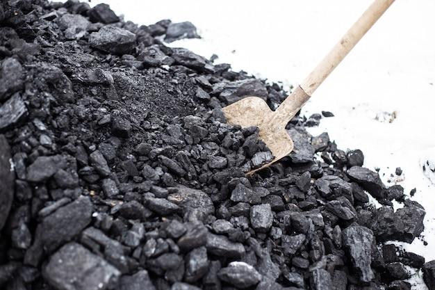 Im winter lädt ein mann kohle mit einer schaufel. aufrechterhaltung hoher temperaturen in brennstoffkesseln, heizungssystemen für privathaushalte. brennbares mineral.