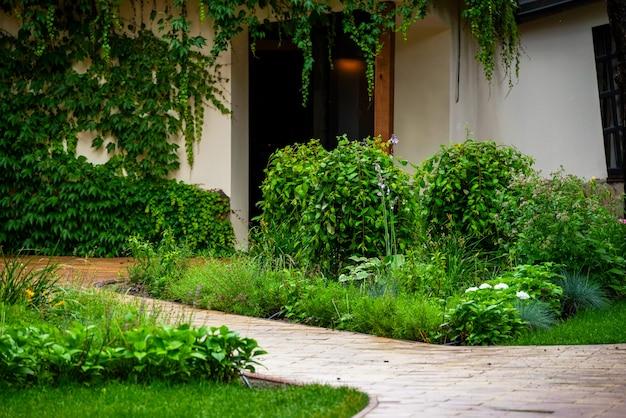 Immergrüne pflanzen mit kies in der dekoration des blumenbeets in der landschaftsgestaltung