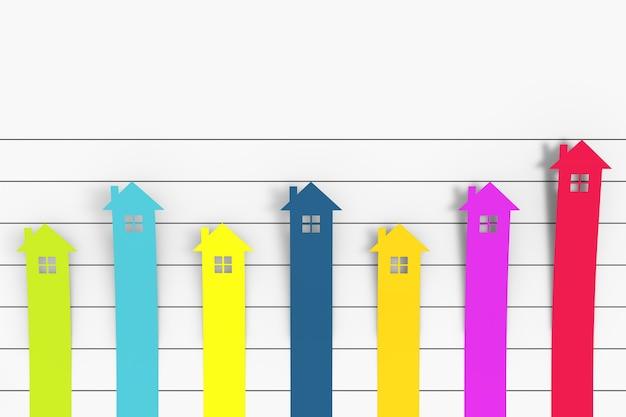 Immobilien-konzept. farbe spalte flat graph chart infografiken haus papierelemente auf weißem hintergrund. 3d-rendering