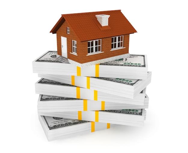 Immobiliengeschäftskonzept. dollar-banknoten mit brick house auf weißem hintergrund