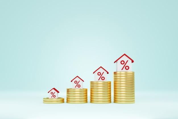 Immobilieninvestition und haushypothek-finanzkonzept. geldmünzenstapel verstärken wachsendes wachstumshaus. 3d-darstellung
