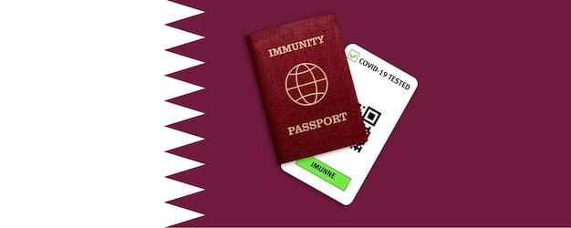 Immunitätspass für reisen nach pandemie und testergebnis für covid auf flagge von katar