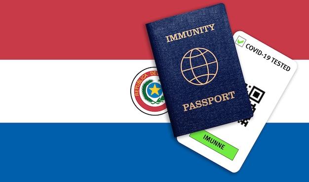 Immunitätspass für reisen nach pandemie und testergebnis für covid auf flagge von paraguay