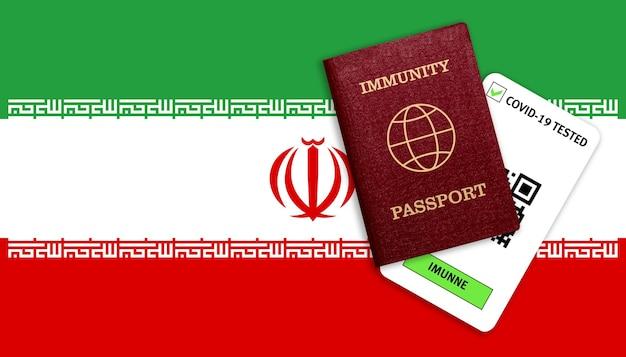 Immunitätspass für reisen und testergebnis für covid auf iranischer flagge