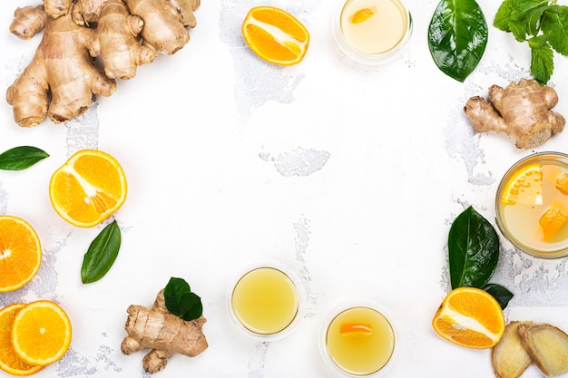 Immunitätsverstärkungsgetränk. hausgemachter ingwer und orangensaft