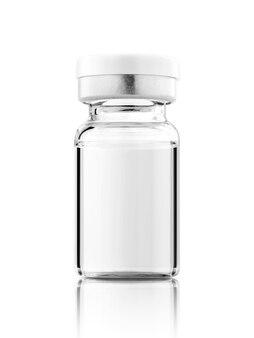 Impfstoffflasche für etikettendesign-mock-up isoliert auf weißem hintergrund mit beschneidungspfad