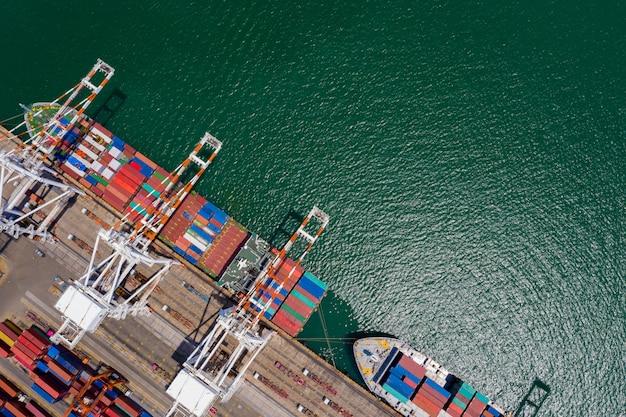 Import und export von internationalen containerschifffahrtsunternehmen auf dem seeweg