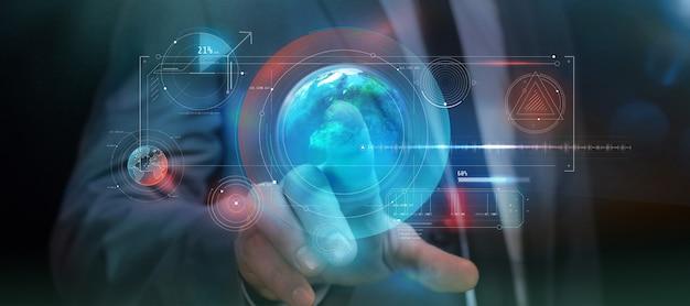 In augmented reality wird per fingerdruck ein virtuelles infografik-panel gestartet. Premium Fotos