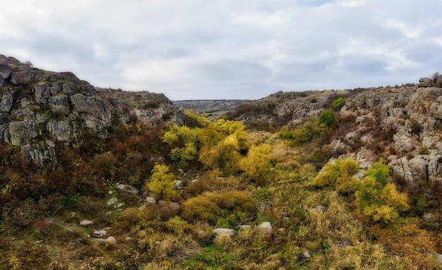In der aktovsky-schlucht fließt ein malerischer bach, umgeben von herbstbäumen und großen felsbrocken