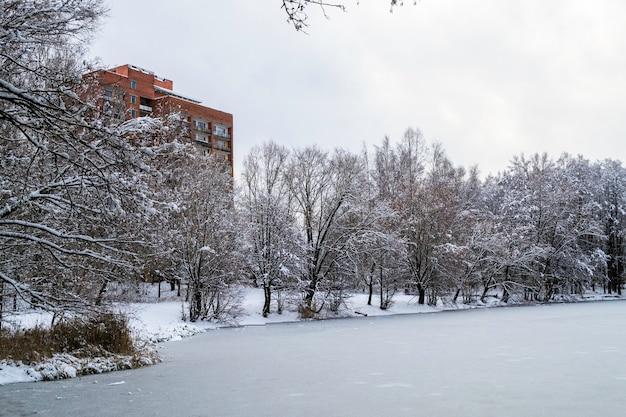 In der nähe eines zugefrorenen sees und schneebedeckter bäume. hochhaus aus rotem backstein am rande der stadt.