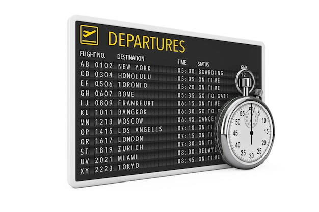 In time fly-konzept. flughafen-abflugtafel mit stoppuhr auf weißem hintergrund. 3d-rendering