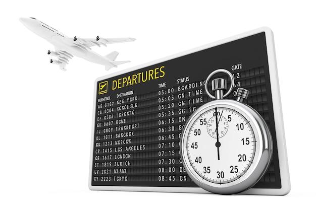 In time fly-konzept. white jet passagiere flugzeug über flughafen abflüge table board mit stoppuhr auf weißem hintergrund. 3d-rendering