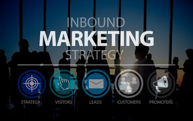 Inbound marketingn marketingstrategie-handels-on-line-konzept