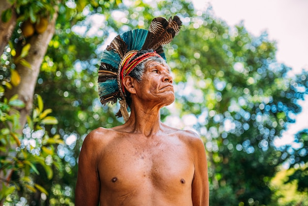Indianer aus dem stamm der pataxó mit federkopfschmuck