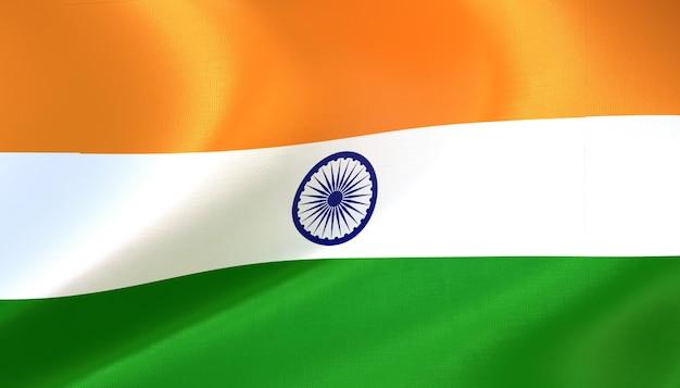Indien-flagge rendern mit textur
