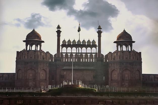 Indien-reisetourismushintergrund - red fort lal qila delhi - weltkulturerbe. delhi, indien