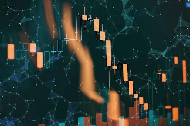 Indikatoren einschließlich volumenanalyse zur professionellen technischen analyse auf dem bildschirm eines computers. fundamentales und technisches analysekonzept.