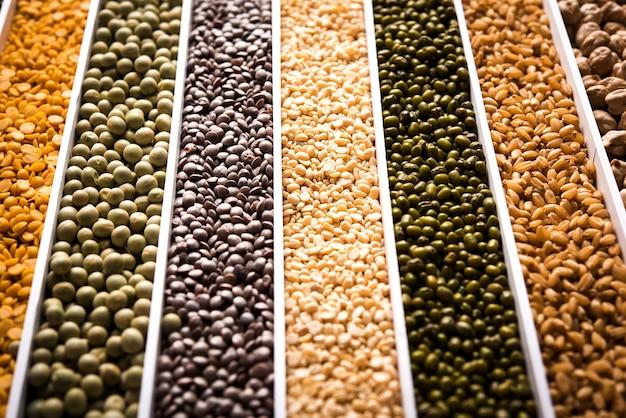 Indische bohnen, pulse, linsen, reis und weizenkorn in einer weißen box mit zellen oder streifen, selektiver fokus.
