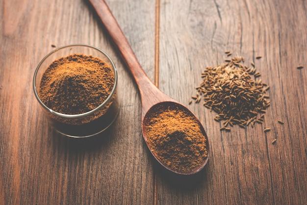 Indischer gewürzhaufen von koriander oder dhaniya-pulver mit getrockneten samen der chinesischen petersilie, selektiver fokus
