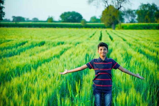 Indischer süßer kleiner junge, der seine arme am feld ausbreitet