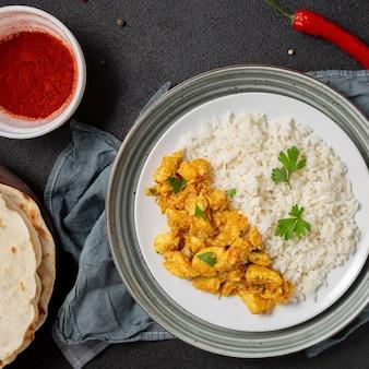 Indisches essen arrangement über ansicht