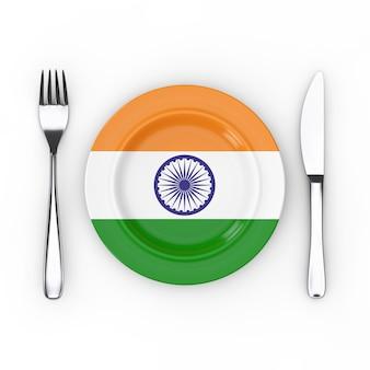 Indisches essen oder küche-konzept. gabel, messer und teller mit indien-flagge auf weißem hintergrund. 3d-rendering