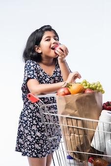 Indisches süßes kleines mädchen mit einkaufswagen oder trolley voll mit lebensmittelgeschäft, gemüse und obst, isoliert über weißer wand