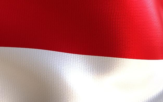 Indonesien-flagge 3d-rendering mit textur