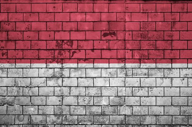 Indonesien flagge ist auf eine alte mauer gemalt