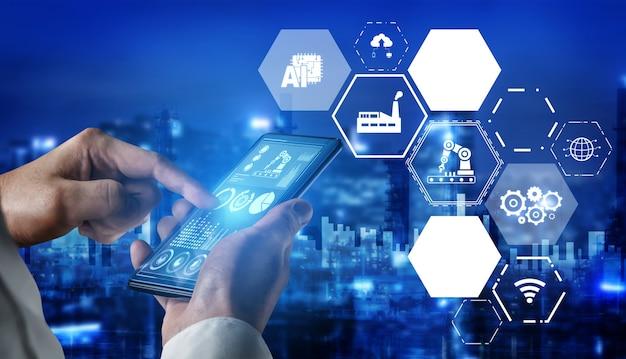 Industrie 4.0 technologiekonzept. intelligente fabrik für die vierte industrielle revolution