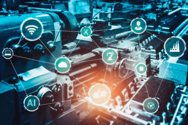 Industrie 4.0-technologiekonzept - intelligente fabrik für die vierte industrielle revolution