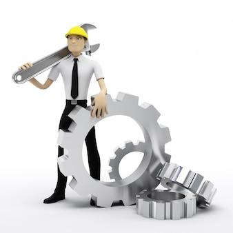 Industriearbeiter mit schlüssel und zahnrädern.